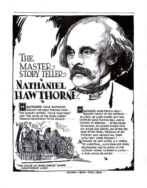 Wall Art - Drawing - Nathaniel Hawthorne, The Master Story Teller by Zal Latzkovich