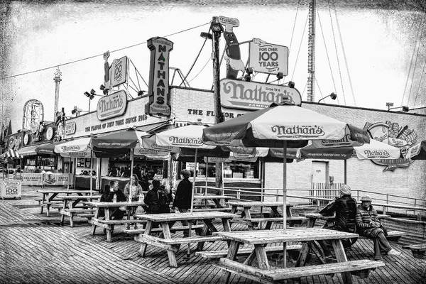 Photograph - Nathans Famous Frankfurters On The Coney Island Boardwalk Black And White by Kay Brewer