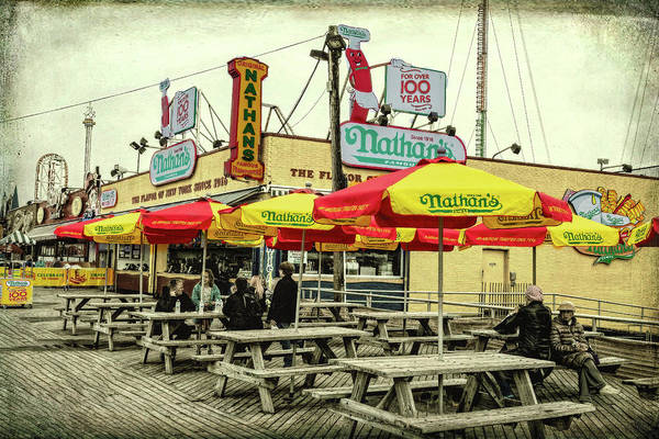 Photograph - Nathans Famous Frankfurters On The Coney Island Boardwalk by Kay Brewer