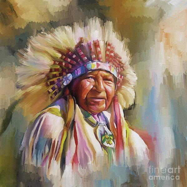 Wall Art - Painting - Native American Art Bbm45 by Gull G