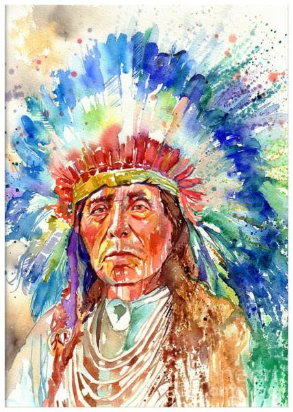 Wall Art - Painting - Native American Chief by Suzann Sines
