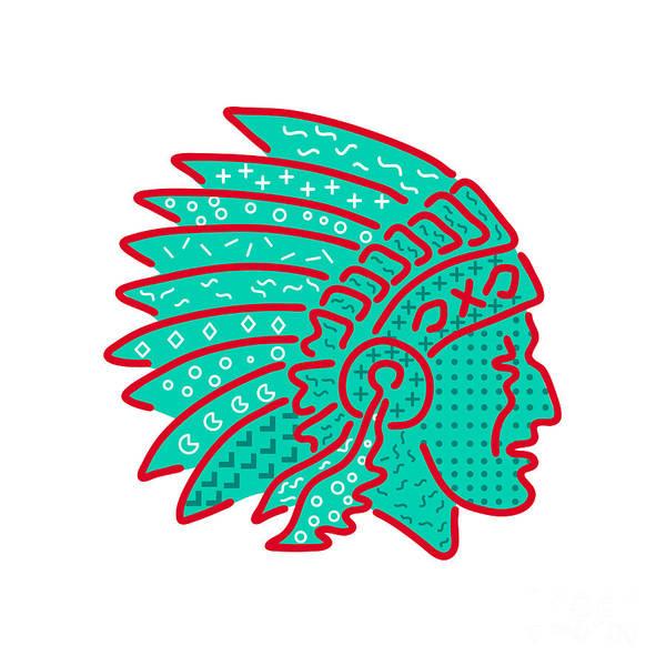 Wall Art - Digital Art - Native American Headdress Memphis Style by Aloysius Patrimonio