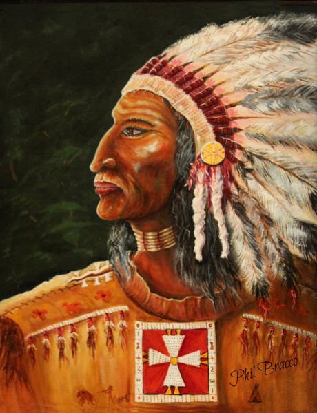 Painting - Native American Indian Chief by Philip Bracco
