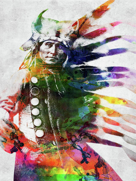 Indigenous Digital Art - Native American Indian Standing Colorful by Mihaela Pater
