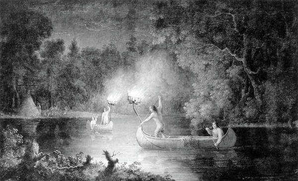 Wall Art - Painting - Native American Indians Fishing by Science Source