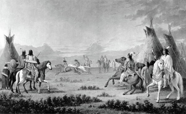 Wall Art - Painting - Native American Indians, Horse Racing by Science Source