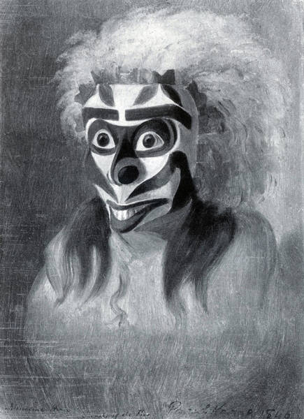 Wall Art - Painting - Native American Medicine Man Mask by Science Source