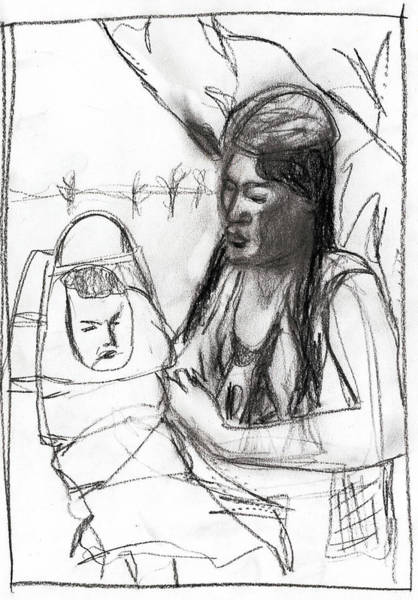 Drawing - Mother And Baby by Artist Dot
