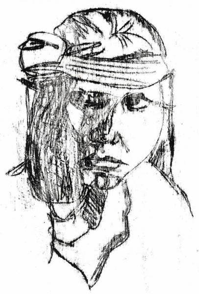 Photograph - Native American Portrait Drawing by Artist Dot