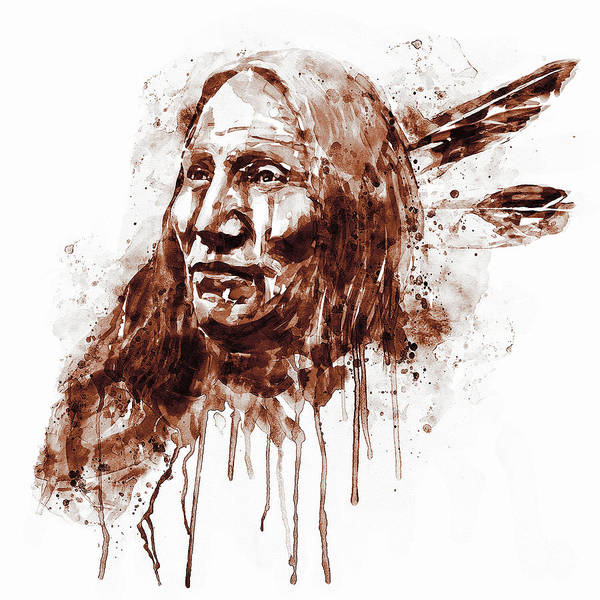 Wall Art - Painting - Native American Portrait Sepia Tones by Marian Voicu