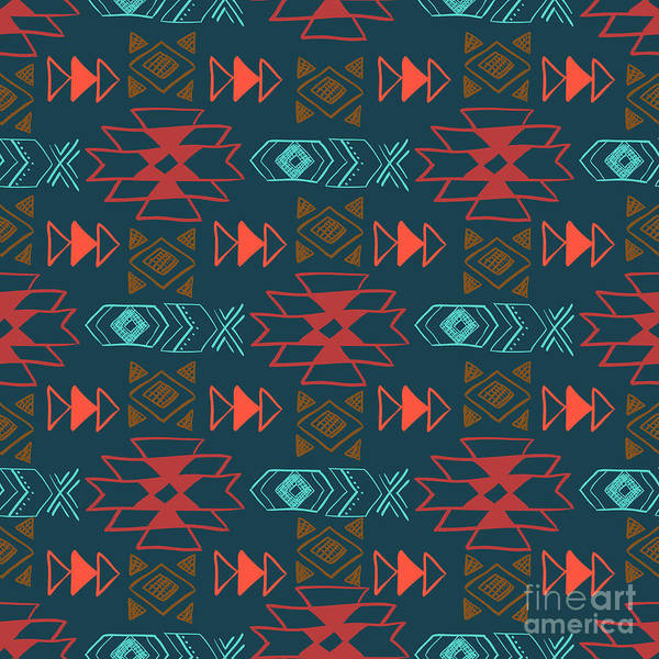 Wall Art - Digital Art - Native American Seamless Pattern With by Lianella