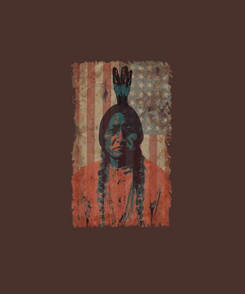 Wall Art - Digital Art - Native American Warrior Usa Flag Retro T-shirt by Unique Tees