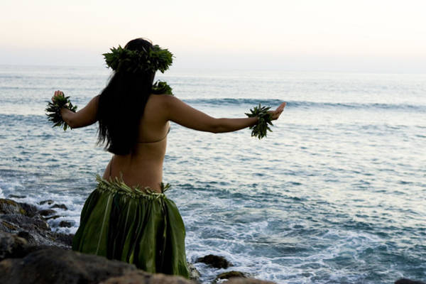 Hula Wall Art - Photograph - Native Hula Dancer Praying To Ocean by Beowulf Sheehan