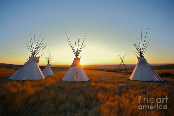 First Light Wall Art - Photograph - Native North American Tipis At Sunrise by Sky Light Pictures