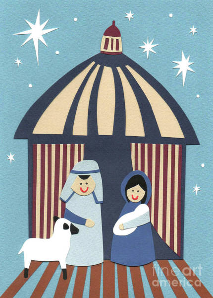 Smile Mixed Media - Nativity  Cut Paper by Isobel Barber