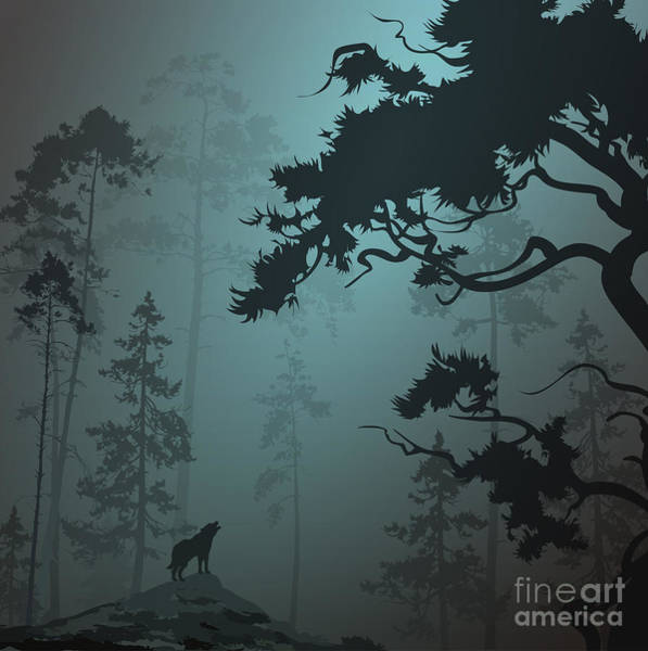 Wall Art - Digital Art - Natural Background With Pine Forest And by Eva mask