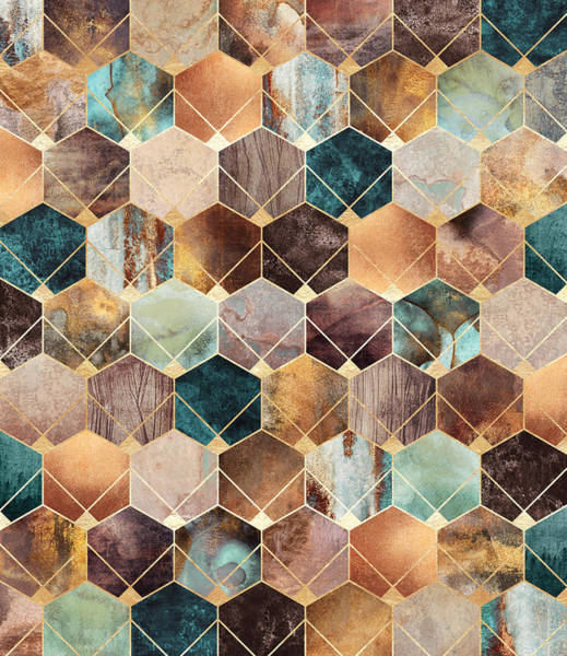 Natural Digital Art - Natural Hexagons And Diamonds by Elisabeth Fredriksson
