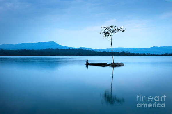 Wall Art - Photograph - Natural Landscape In Blue. A Boat by Worradirek