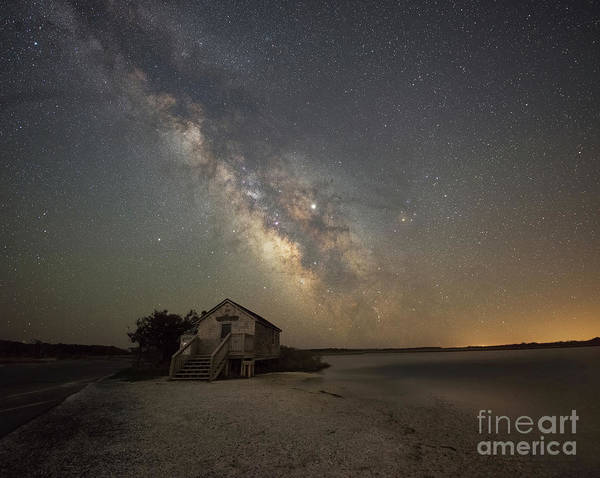 Photograph - Naturalist Shack Under Starlight  by Michael Ver Sprill