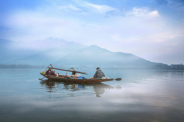 Dal Lake Photograph - A Wooden Boat In The Dal Lake by Chantelle Flores