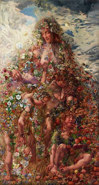 Fertility Painting - Nature Or Abundan by Leon Henri Marie Frederic