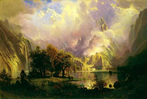 Wall Art - Painting - Digital Remastered Edition - Rocky Mountain Landscape by Albert Bierstadt
