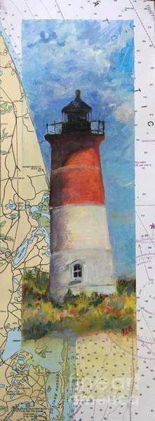 Noaa Chart Wall Art - Painting - Nauset Lighthouse Reprints And Gift Ideas Available  by Lisa Boemer