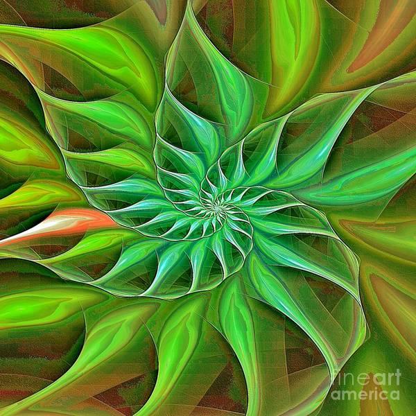 Digital Art - Nautilus Enameled Green Tropical  by Doug Morgan