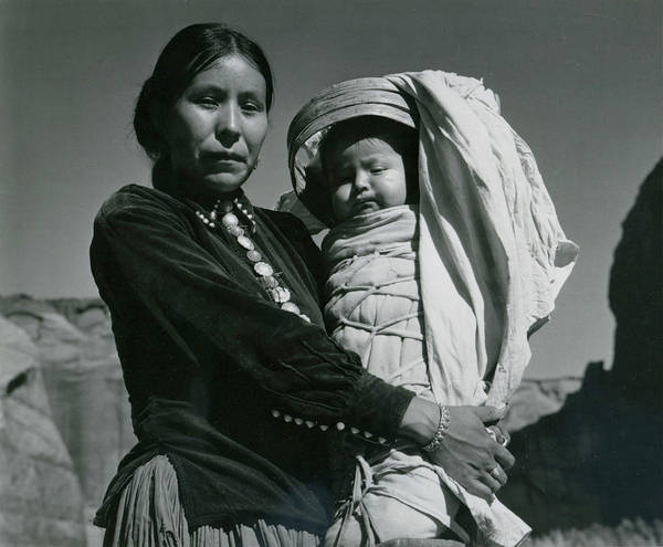 Two People Photograph - Navajo Woman And Infant, Canyon De by Archive Photos