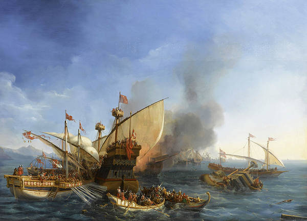 Wall Art - Painting - Naval Battle Of Episkopi, 1323 by Auguste Etienne Francois Mayer