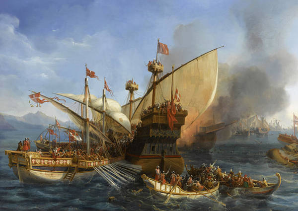 Wall Art - Painting - Naval Battle Of Episkopi In 1323 by Auguste Etienne Francois Mayer