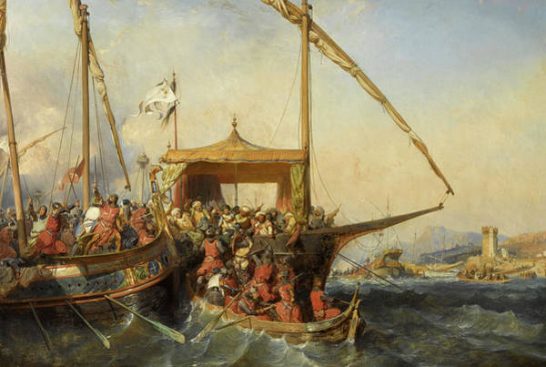 Wall Art - Painting - Naval Battle Of Imbre, 1346 by Eugene Lepoittevin