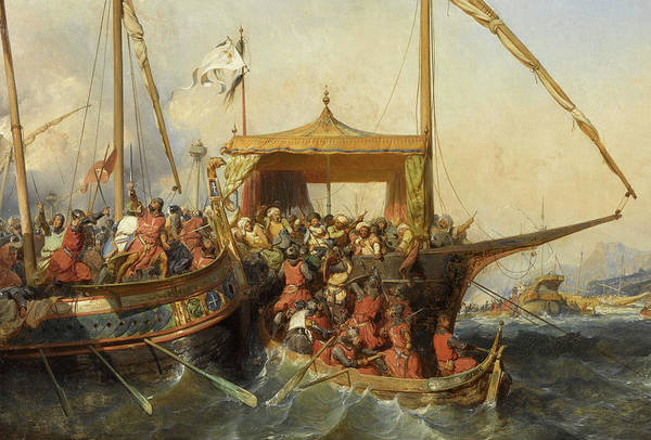 Wall Art - Painting - Naval Battle Of Imbre by Eugene Lepoittevin
