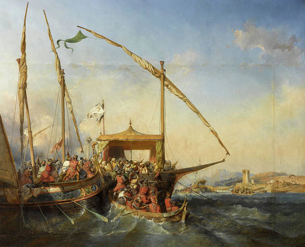 Wall Art - Painting - Naval Battle Of Imbre In 1346 by Eugene Lepoittevin