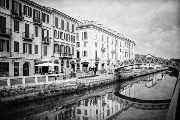 Wall Art - Photograph - Naviglio Grande Milan Italy Black And White by Carol Japp