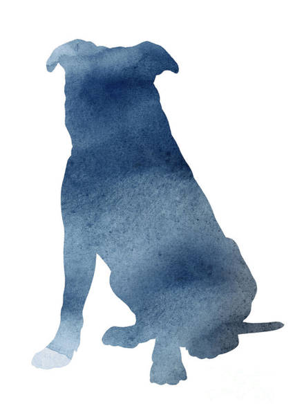 Wall Art - Painting - Navy Blue Pitbull Silhouette Sitting Facing Left  by Joanna Szmerdt