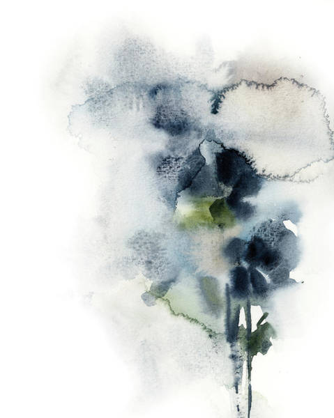 Wall Art - Painting - Navy Floral by Sophia Rodionov