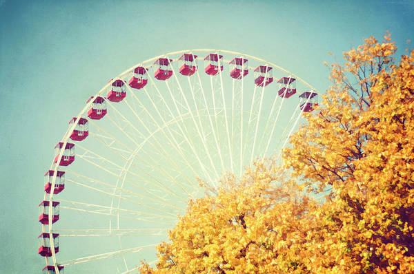 Photograph - Navy Pier Ferris Wheel by Trina Dopp Photography