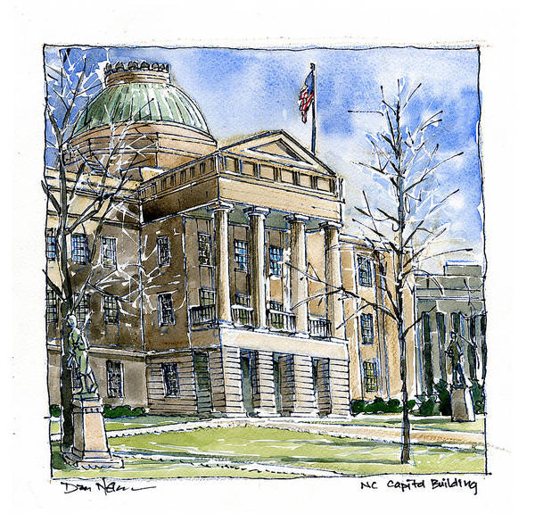 Wall Art - Painting - Nc Capitol In Winter by Dan Nelson