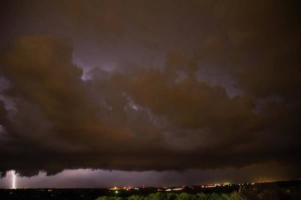 Photograph - Nebraska Night Shelf Cloud 008 by Dale Kaminski