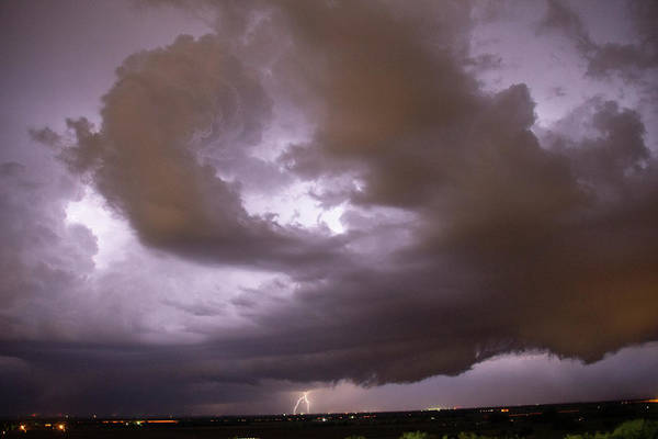 Photograph - Nebraska Night Shelf Cloud 014 by Dale Kaminski