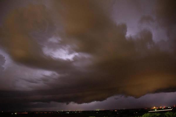 Photograph - Nebraska Night Shelf Cloud 015 by Dale Kaminski