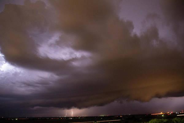 Photograph - Nebraska Night Shelf Cloud 016 by Dale Kaminski