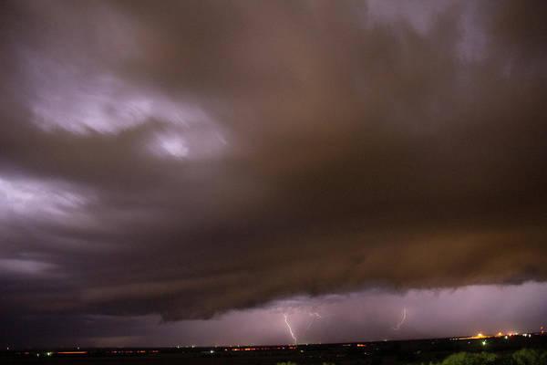 Photograph - Nebraska Night Shelf Cloud 019 by Dale Kaminski