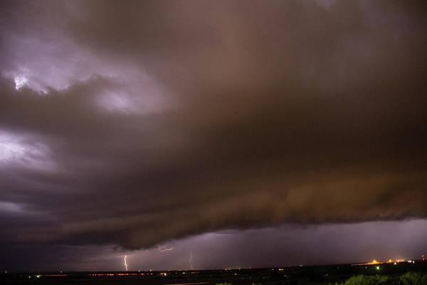 Photograph - Nebraska Night Shelf Cloud 020 by Dale Kaminski