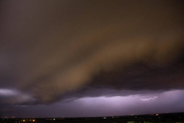 Photograph - Nebraska Night Shelf Cloud 026 by Dale Kaminski