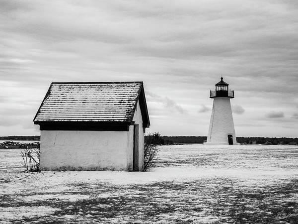 Photograph - Neds Point Lighthouse Mattapoisett Ma Bw by David Gordon