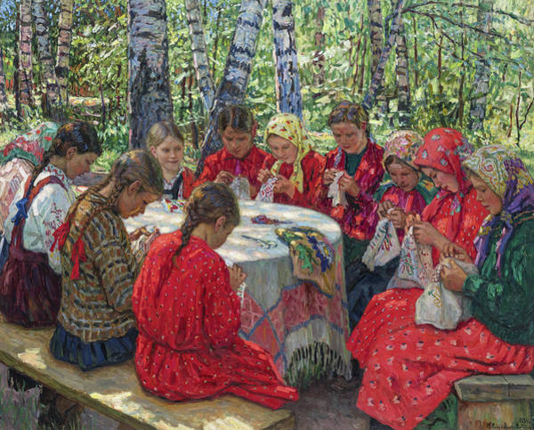 Embroidery Painting - Needlework Lesson, 1936 by Nikolay Bogdanov-Belsky