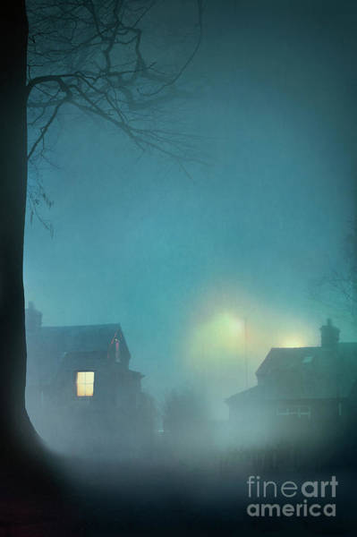Chimnies Photograph - Neighbouring Suburban Houses At Night by Lee Avison