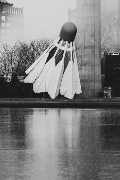 Photograph - Nelson Atkins Shuttlecock - Kansas City Black And White by Gregory Ballos